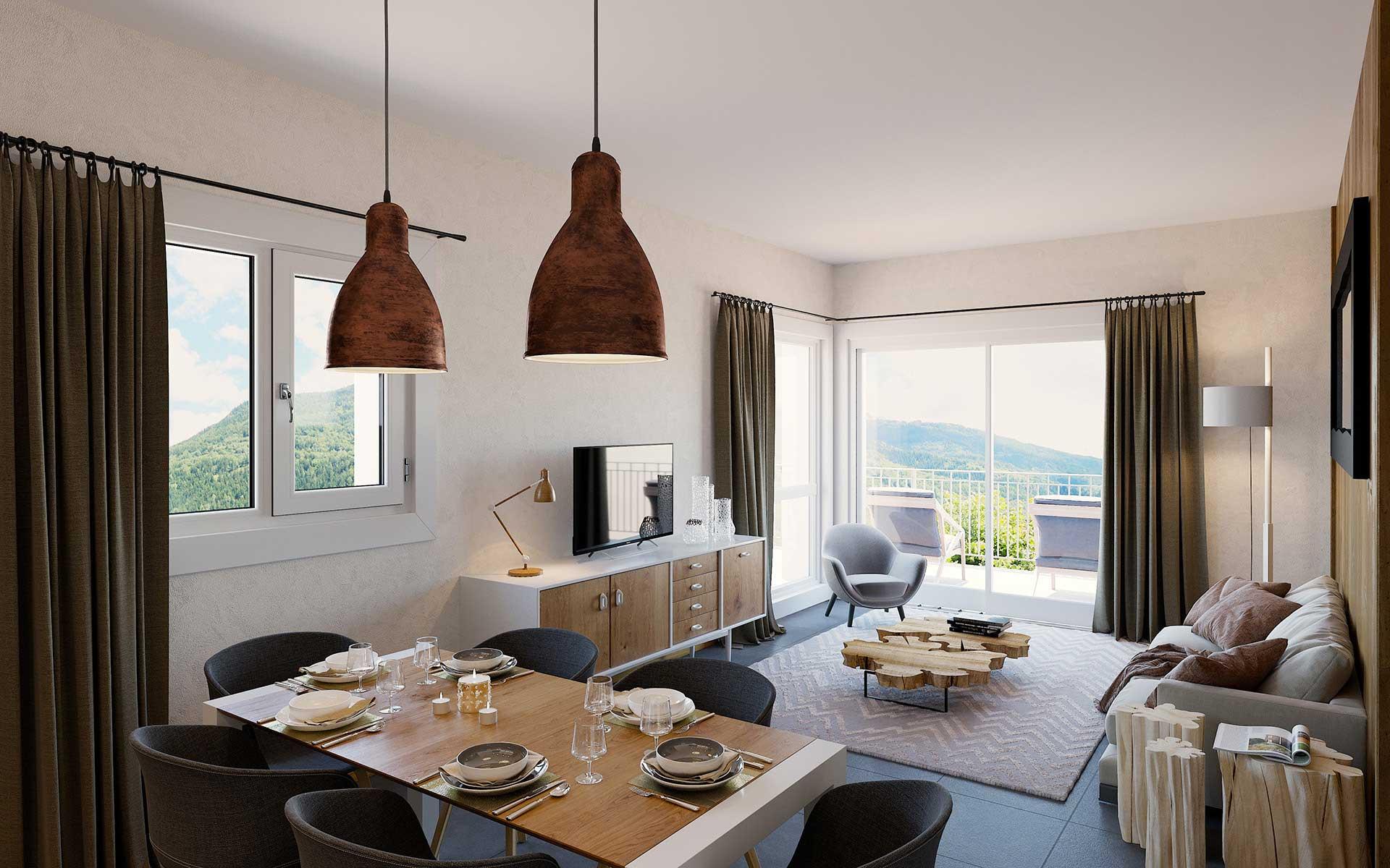 Photo de salon en trois dimensions - projet immobilier Valentin studio