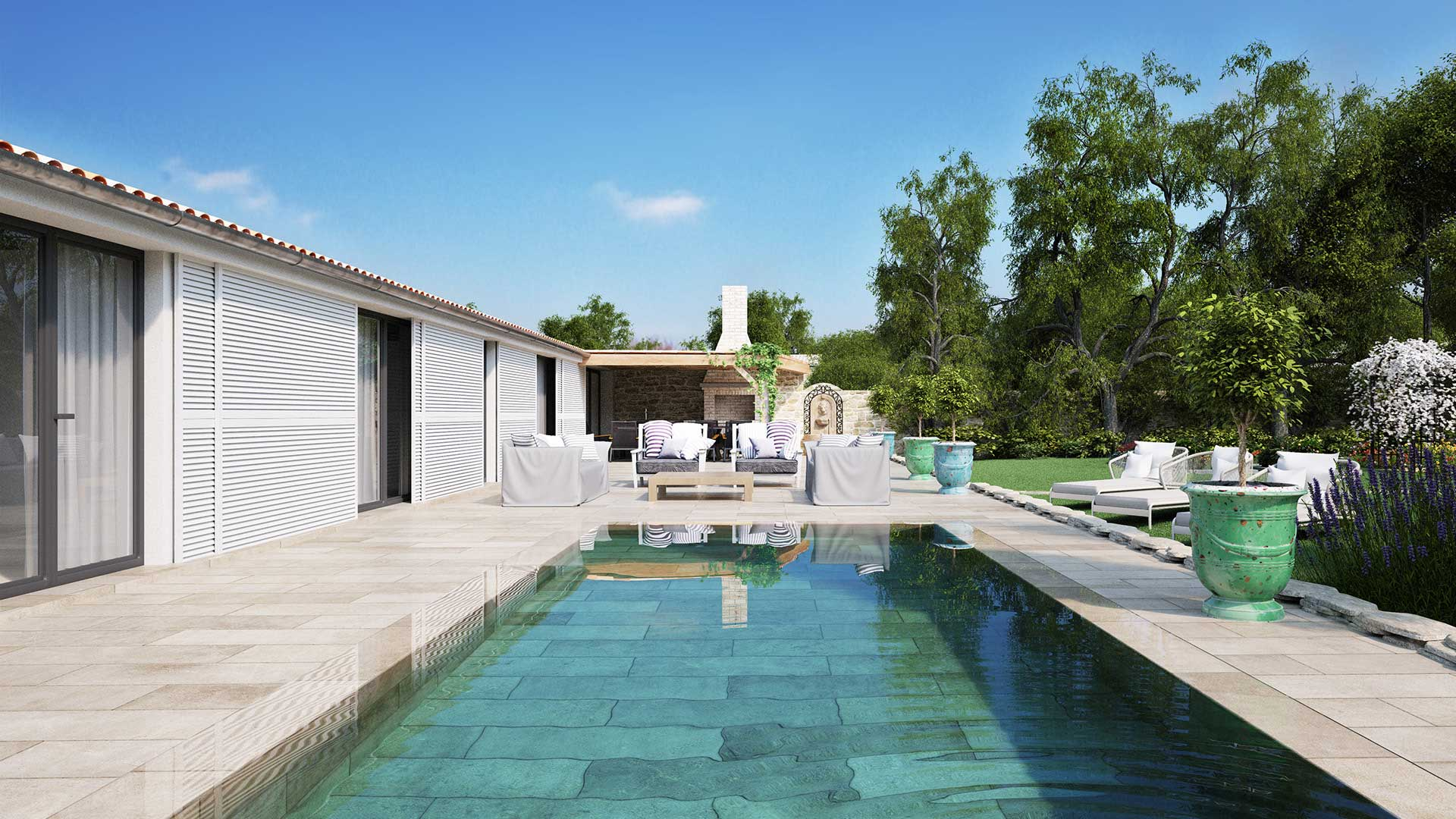 3D Perspective view of a luxurious pool in Île-de-Ré.