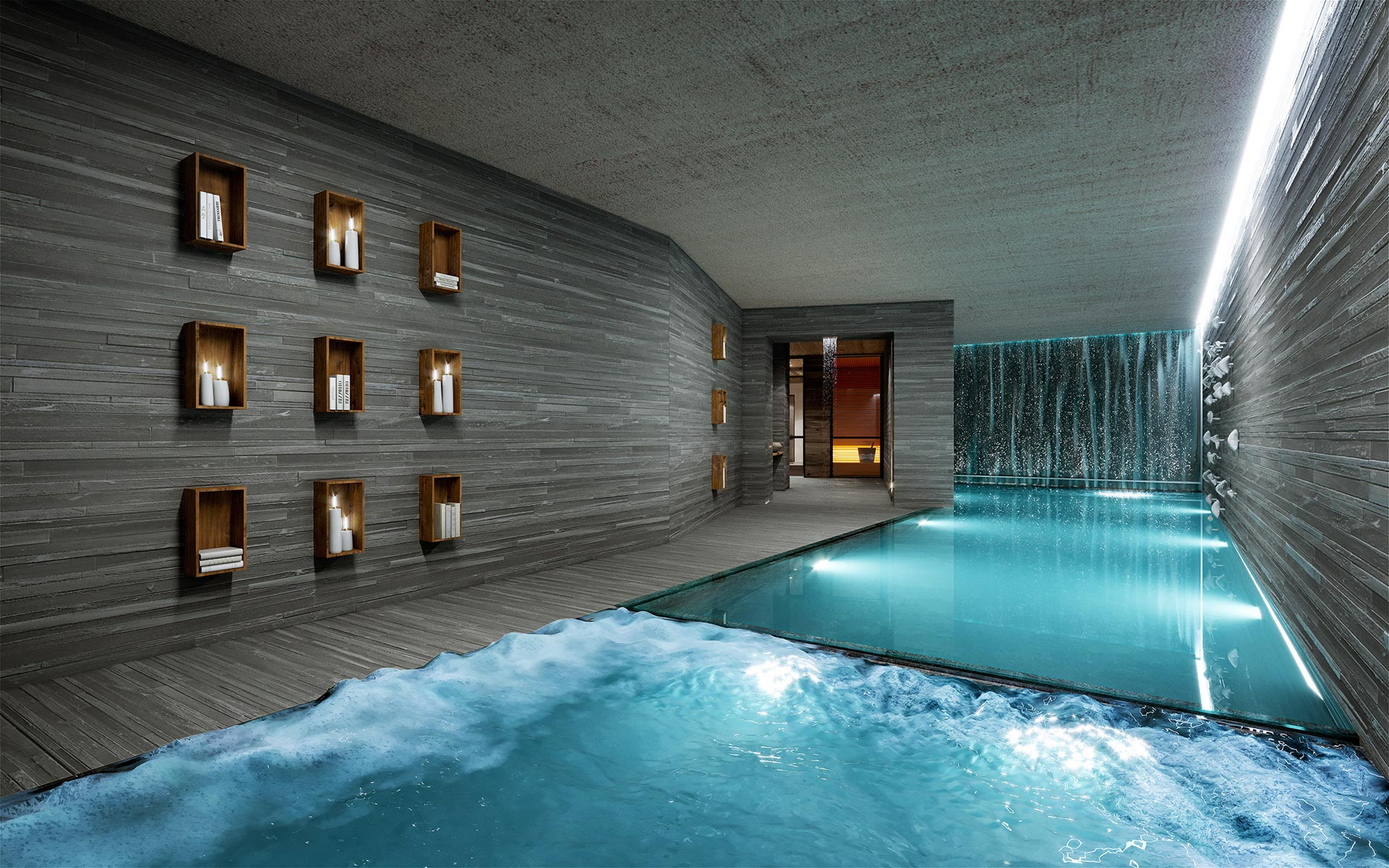 3D perspective of a pool in a luxury chalet in Courchevel