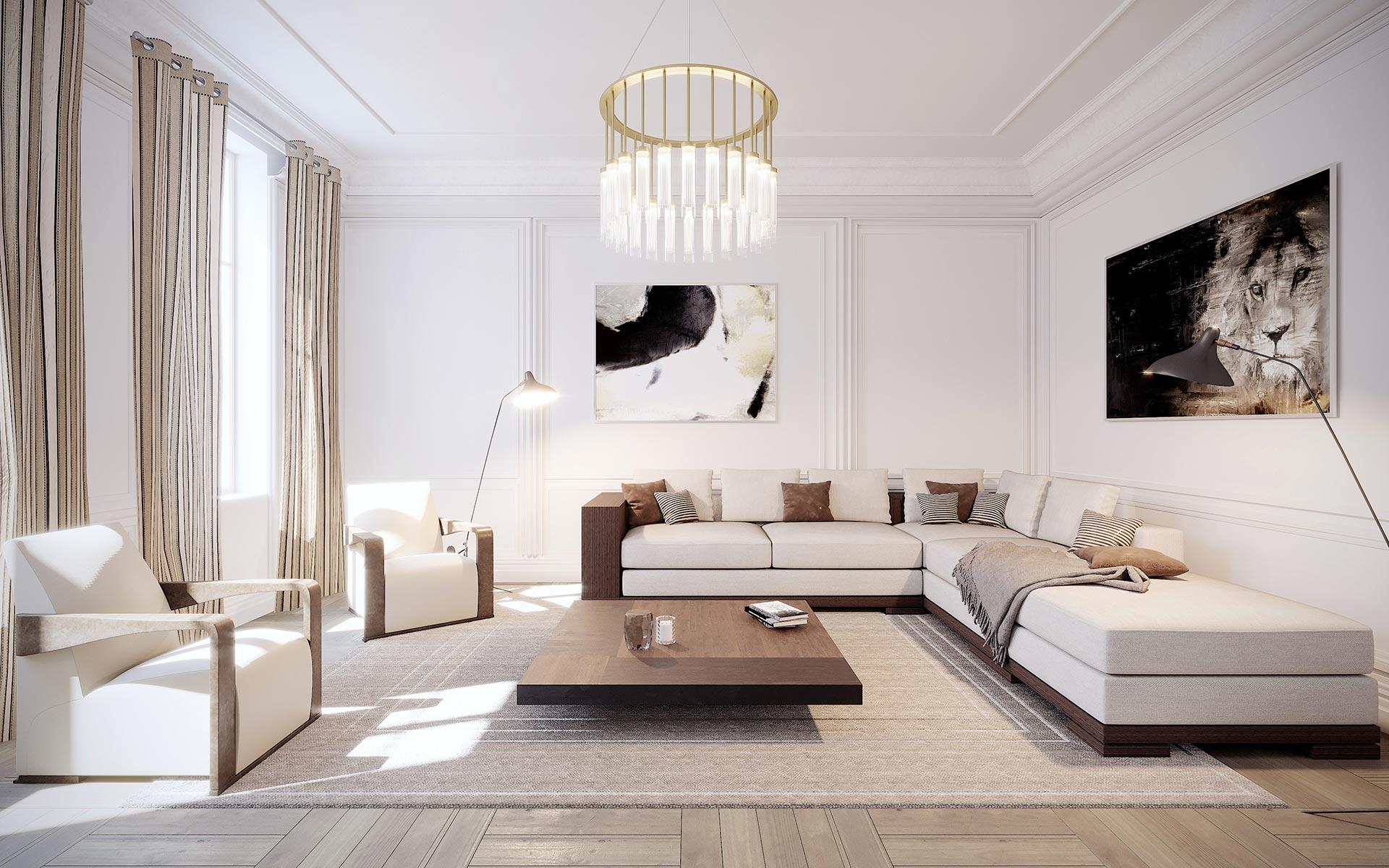 Visualisation en 3D d'un salon pour un projet immobilier de luxe