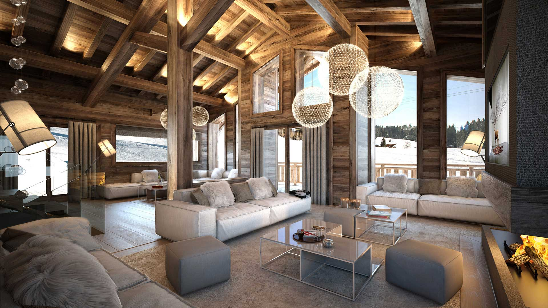Perspective of the living room of a luxurious chalet in Combloux made from computer generated images.