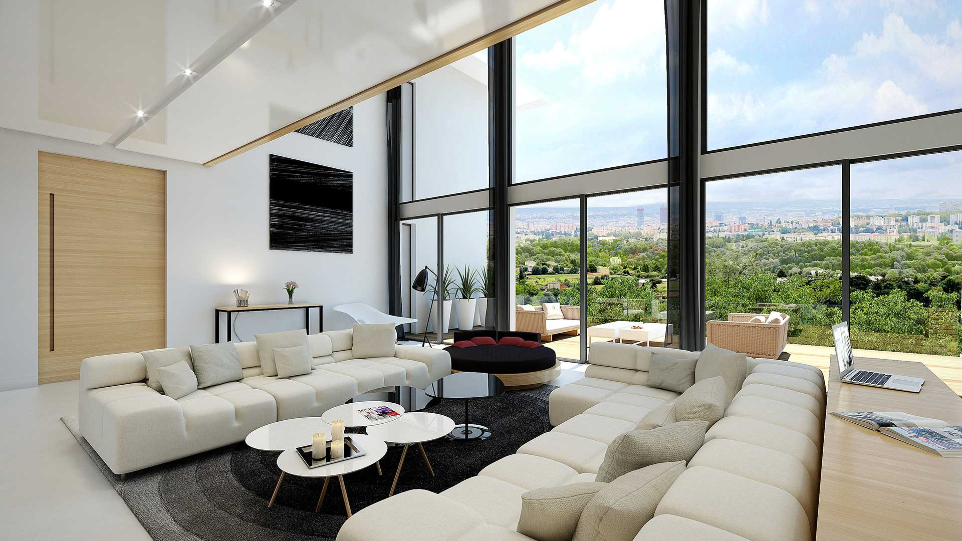 View architect 3D of the living room of a villa in Lyon.