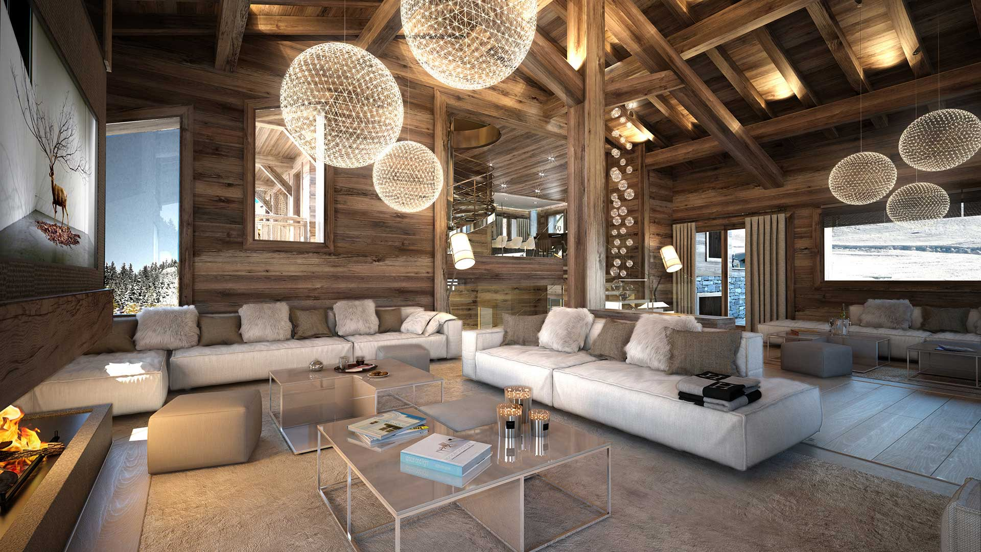 3D Perspective of the living room of a luxurious chalet in Combloux