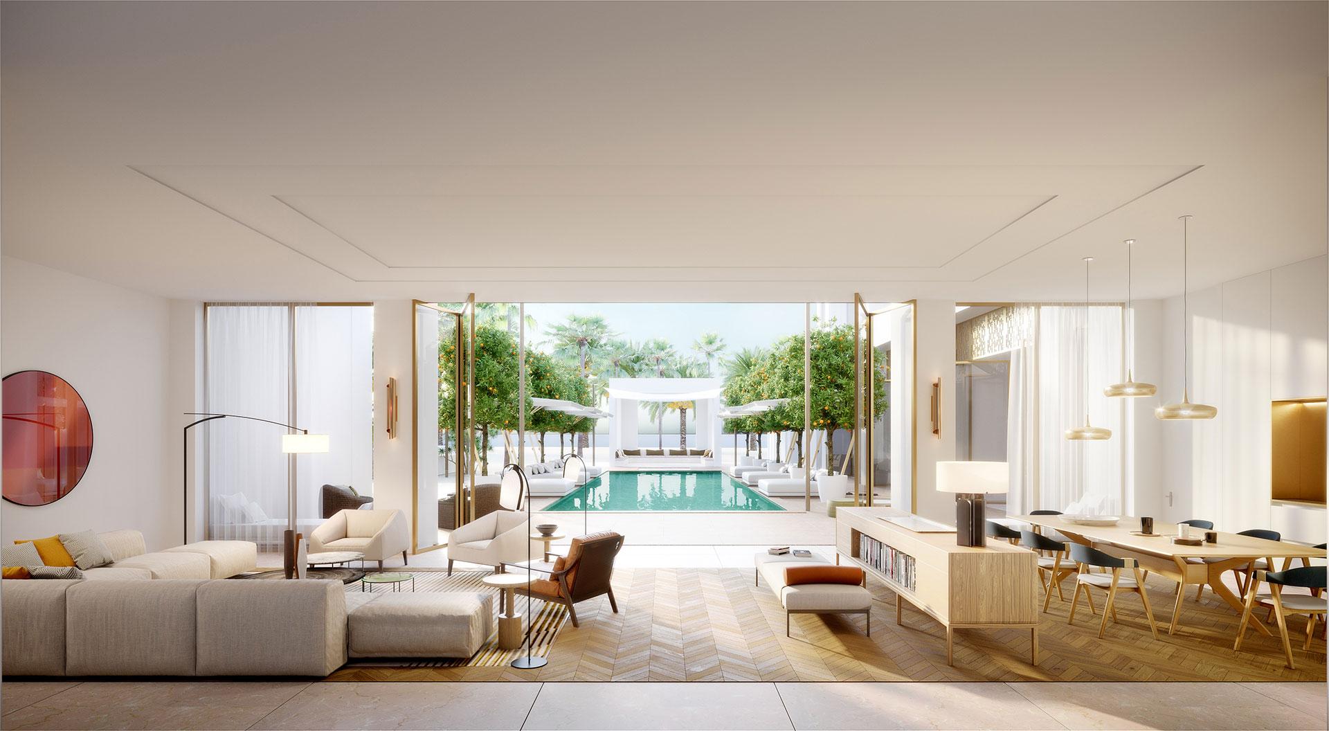 Perspective 3D du salon d'une villa au Maroc avec vue sur l'extérieur et la piscine