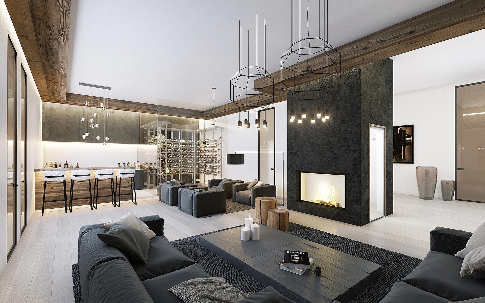 Image numérique d'un salon pour un projet immobilier de luxe