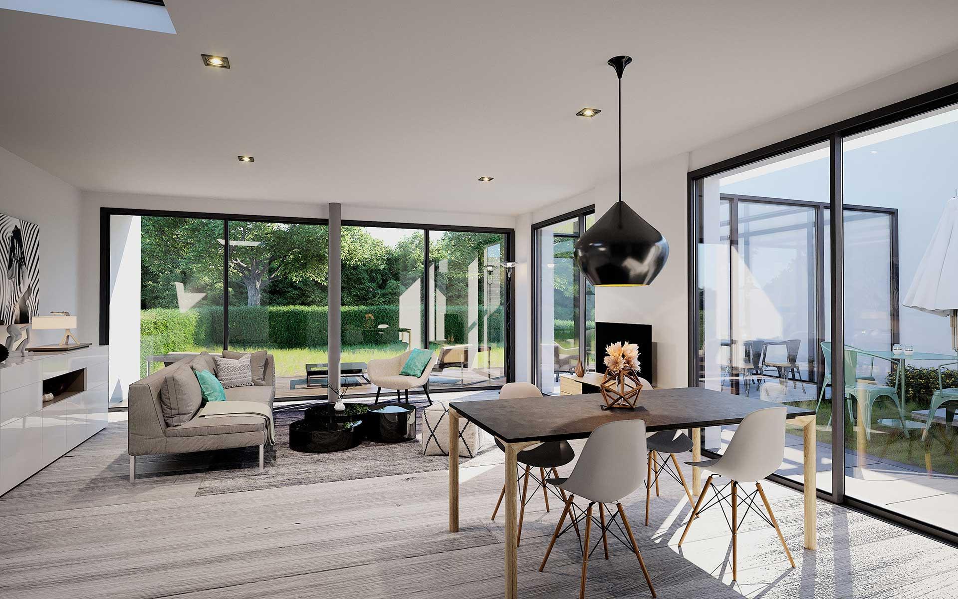 Salon 3D d'une villa de luxe. Image réalisée par l'agence Valentin Studio 3D.