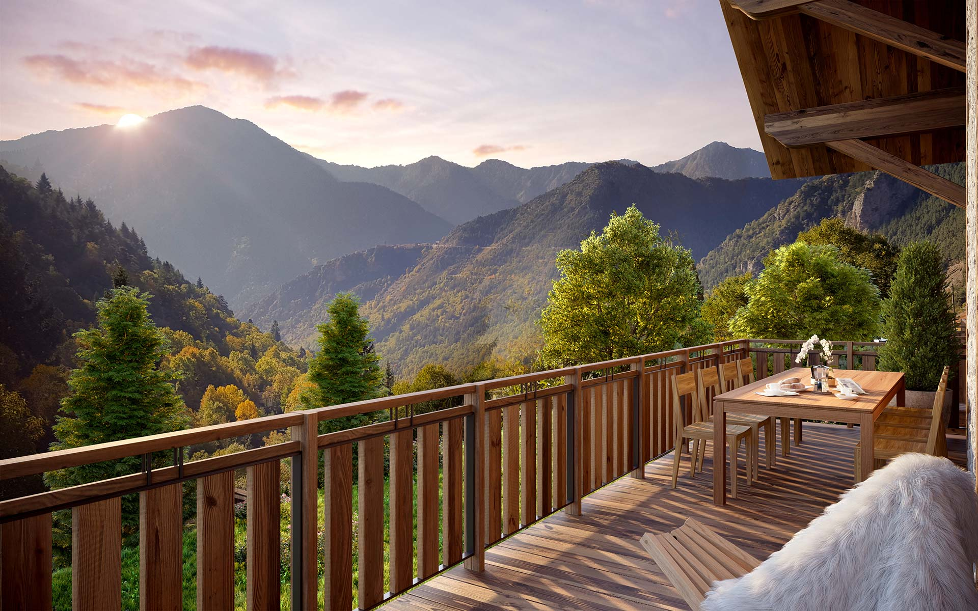3D view from a terrace of a mountain luxury chalet