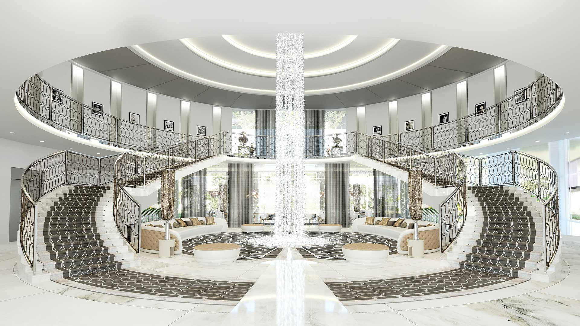 Computer generated image of the entrance hall of an ultra luxurious villa, real estate plan.