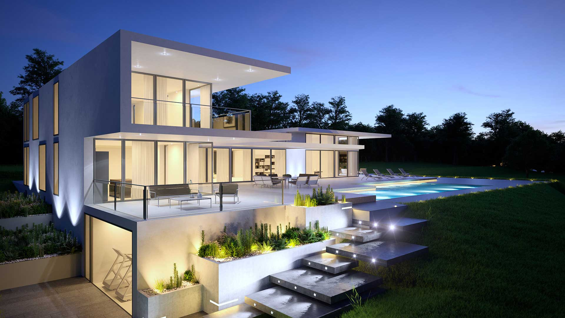 3D Perspective of a View of a villa in Geneva (Switzerland).