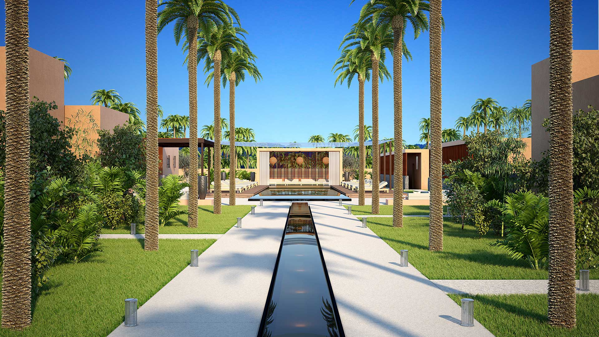 3D Perspective of a project of a villa in Morocco made from computer generated images.