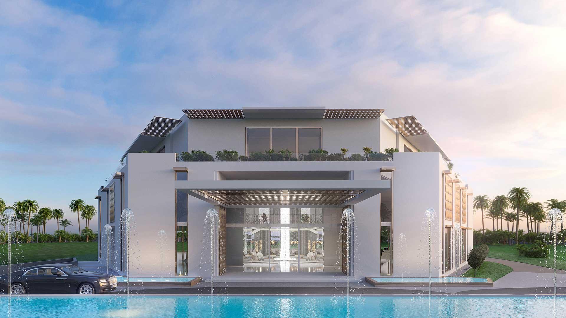 Rendu 3D d'une villa ultra luxe pour un projet immobilier.