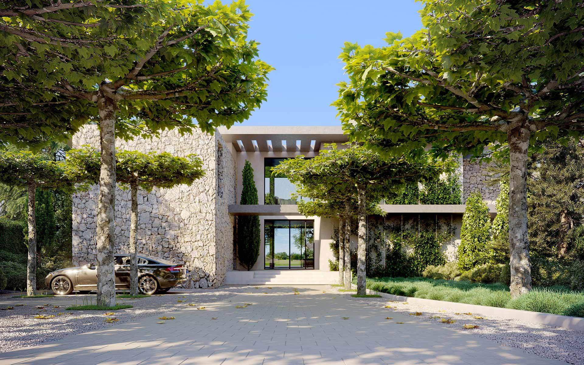 3D render of a villa exterior facade