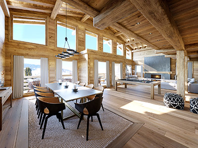 3D graphics of a rustic and modern mountain chalet