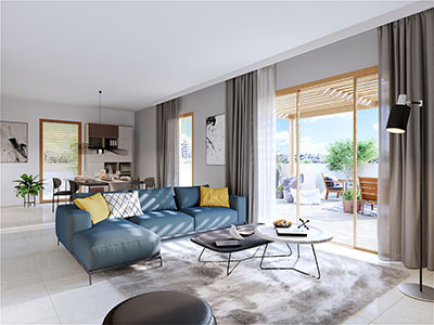 New and modern apartment realized in 3D