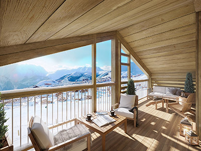 3D photorealistic rendering of a covered terrace with a panoramic view of the mountain and the valley