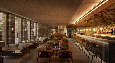 3D perspective of a luxury lounge bar