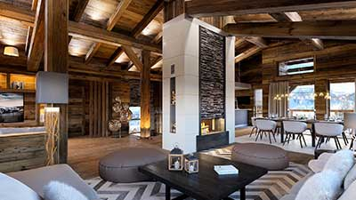 Creation of a 3D computer generated image of a luxurious chalet in Courchevel for real estate promotion.