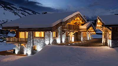 Creation of a 3D rendering of a luxurious chalet, marketing ad tool