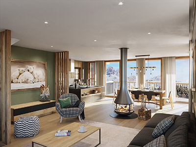 3D perspective of an apartment in a chalet in the Vosges