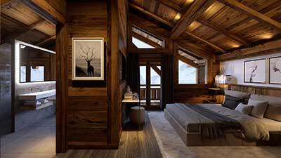 Rendu 3D d'une chambre de luxe par le studio de création digitale 3D Valentin Studio.