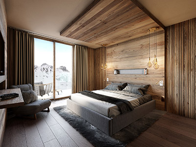 3D computer image of a mountain hotel room
