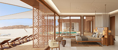 3D image of a room in a luxurious villa in the desert of Morocco