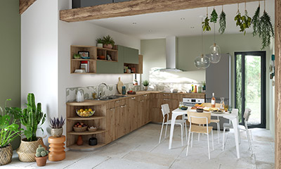 3D perspective of a modern green and wood kitchen