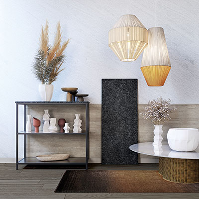 3D rendering of kitchen details: storage unit, table and decorations
