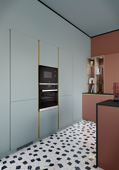 3D architectural visualization of the interior of a modern kitchen with its storage space