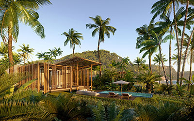3D rendering of the exterior of a Vietnamese hotel