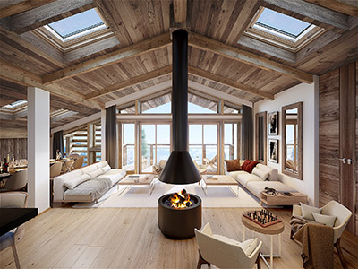 3D Archviz of a living room with view in a luxury chalet