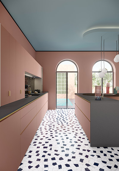 3D representation of a modern pink and gray kitchen
