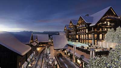 Création d'une station de ski en 3D (perspective en image de synthèse)