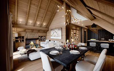 3D image of a dining room in a chalet