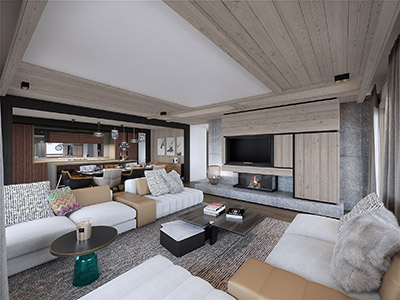 3D computer graphics of a modern chalet living room in Megeve