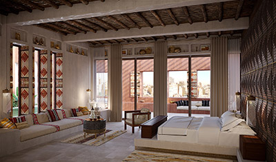 3D creation of a luxurious Moroccan living room in a villa