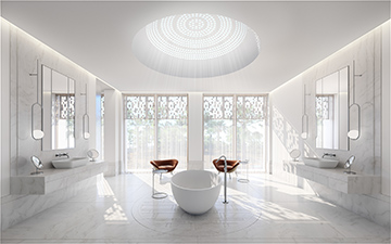 3D perspective of a luxurious bathroom