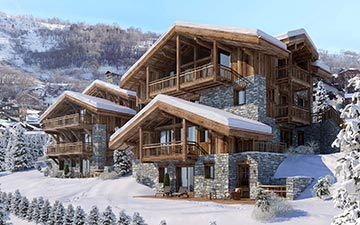 3D visualization of a chalet exterior in a snowy environment for a mountain project