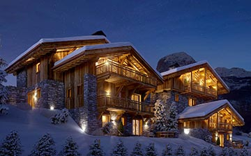3D Exterior perspective of a chalet by night