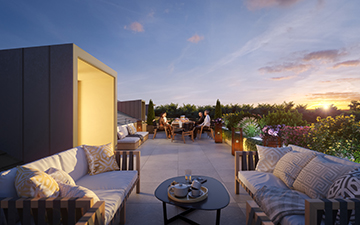 3D terrace perspective in a sunset mood for a the real estate development