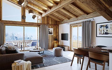 Interior visualization of a chalet apartment in Chatel