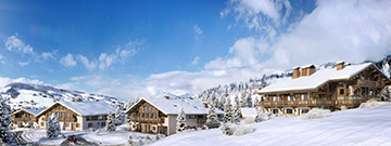 3D visualization overview of a group of chalets in a snowy landscape