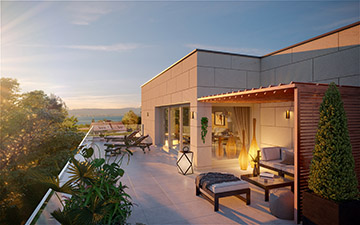 3D terrace perspective in a sunset mood for real estate development