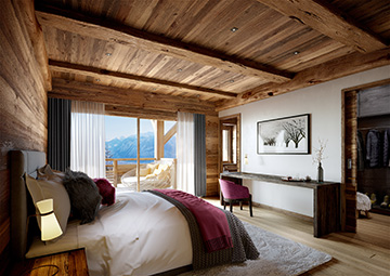 3D render of a chalet hotel room in La Plagne