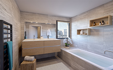 3D visualization of a bathroom for real-estate development