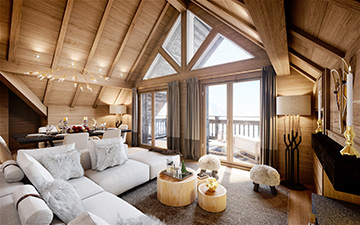 Perspective in 3D of the interior of a luxurious mountain chalet apartment
