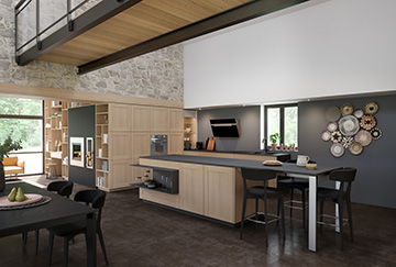 3D view of a kitchen set in a modern home interior