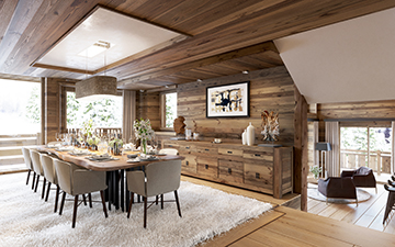 3D perspective of a luxurious chalet dining-room