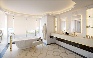 Vue en perspective 3D d'une salle de bain dans une villa à Cannes