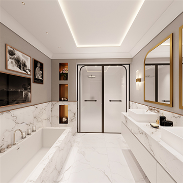 3D Perspective of a bathroom in a villa in Cannes